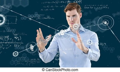 Animation of a Caucasian man touching a 3D screen with connection icons and floating mathematics formulae on black background. Global economy and technology concept digital composite