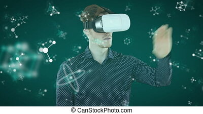 Animation of Caucasian man wearing a VR headset touching ...