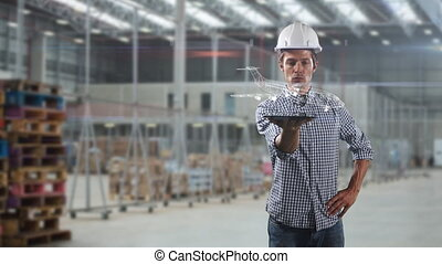 Animation of Caucasian man with a hard hat holding a tablet displaying a white plane moving