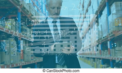 Animation of Caucasian man working in warehouse, using tablet over mathematics equations. E-commerce and delivery services in lockdown during Coronavirus Covid-19 epidemic concept digitally generated