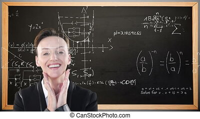Animation of Caucasian woman, standing in front of a chalkboard with floating mathematics formulae