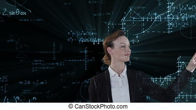 Animation of a Caucasian woman, touching a screen with mathematics formulae on chalkboard floating in the foreground. Global economy and technology concept digital composite