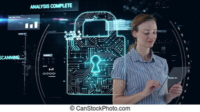 Animation of Caucasian woman touching transparent screen with digital safety icon floating in backgr