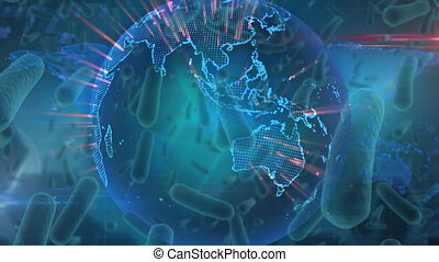 Animation of cells of coronavirus spreading over glowing globe spinning on blue background.