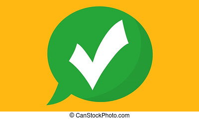 animation of checkmark icon. 4k video on green background ...