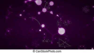Animation of chemical shapes and mathematical formula moving...