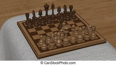 Animation of chess set in motion.