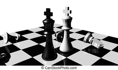 Animation of chess set. Stand off. Rivalry concept