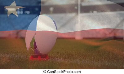 Animation of the Chilean flag waving over a rugby ball on the pitch at an empty stadium. Cancelled sports events during coronavirus Covid-19 pandemic concept, digital composite