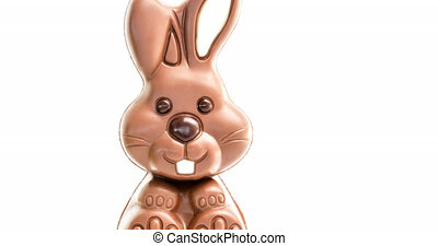 Animation of chocolate easter bunny on white background