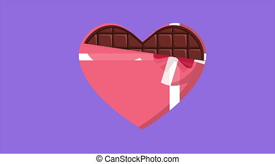 Animation of chocolate open in love. Valentine day
