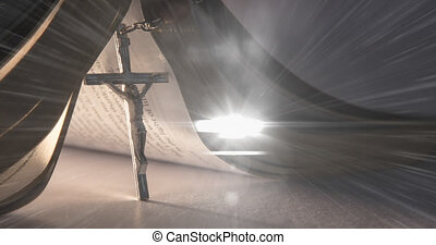 Animation of christian cross and bible with multiple glowing points on grey background