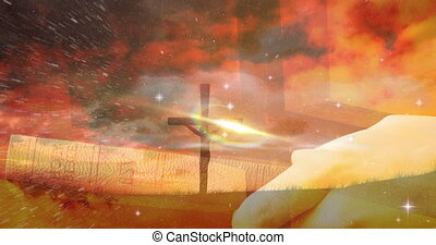 Animation of christian cross and person holding holy bible with red clouds
