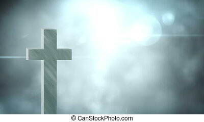 Animation of Christian cross over glowing spotlights and ...