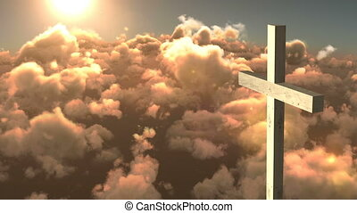 Animation of Christian cross over orange clouds and sun shining on blue sky in the background. Easter religion faith concept digitally generated image.