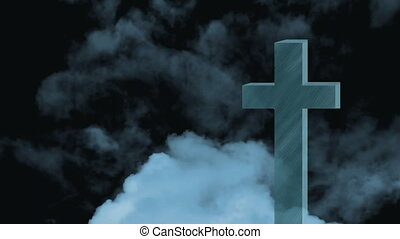 Animation of Christian cross over white clouds moving in fast motion on blue sky