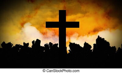 Animation of Christian cross over yellow clouds moving and ...
