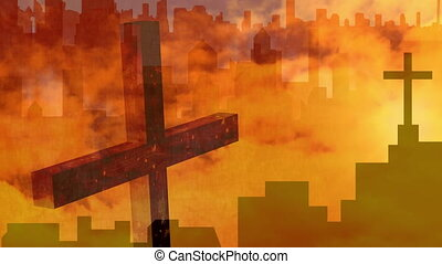 Animation of Christian crosses over orange clouds moving in ...