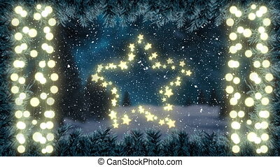 Animation of christmas glowing star and strings of fairy lights with winter scenery and snow falling in the background. christmas festivity celebration concept digitally generated image.