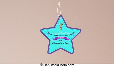 Animation of christmas greetings on tag over beige background. christmas, winter, tradition and celebration concept digitally generated video