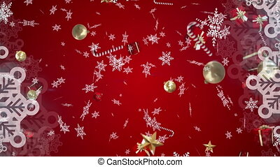 Animation of christmas presents and snowflakes falling on red background