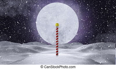 Animation of christmas red and white candy stick, full moon and snow falling at night. christmas festivity celebration concept digitally generated image.