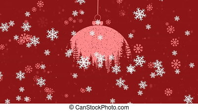 Animation of christmas red bauble and snow falling on red background. christmas festivity celebration concept digitally generated image.