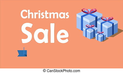 Animation of Christmas Sale. Christmas gift