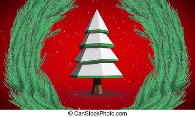Animation of christmas tree and wreath with snow falling on red background. christmas festivity celebration concept digitally generated image.