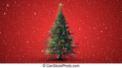 Animation of christmas tree with snow falling on red background