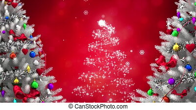 Animation of christmas trees and snow falling on red background