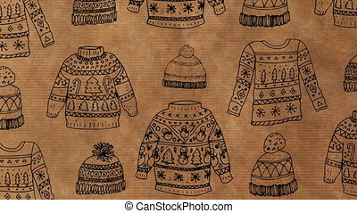 Animation of Christmas wrapping paper with a hat and jumper pattern, in brown and black