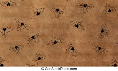 Animation of Christmas wrapping paper with a holly leaves pattern, in brown and black