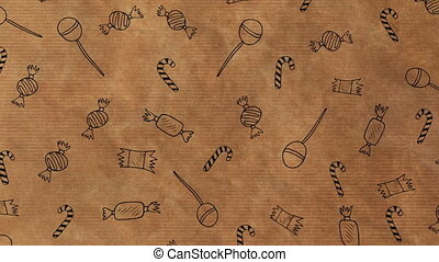 Animation of Christmas wrapping paper with sweets pattern, in brown and black