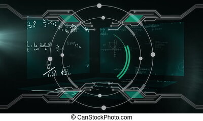 Animation of circles and connections over three screens ...