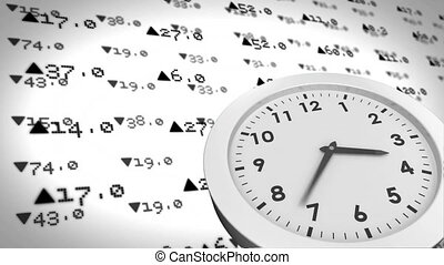 Animation of clock against stock exchange