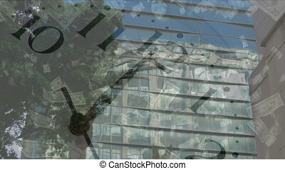 Animation of clock moving fast with American dollar ...