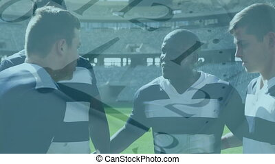 Animation of clock ticking over a multi-ethnic male rugby ...