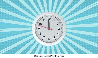 Animation of clock ticking over rotating blue stripes moving...
