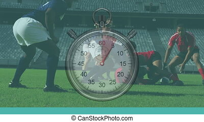 Animation of clock ticking over two multi-ethnic rugby teams...