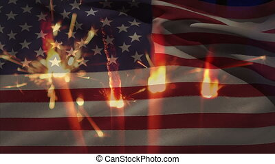 Animation of close up of sparklers against american flag waving. patriotism stars and stripes concept digitally generated image.