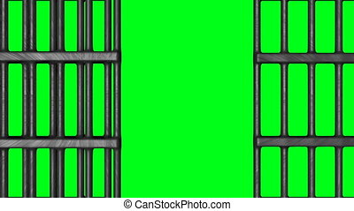 Animation of Closed Jail bars. HQ Video Clip with Green...