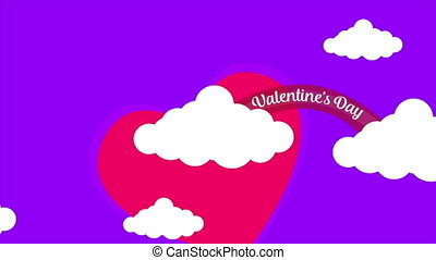 Animation of cloud with love and write Valentine day on the...