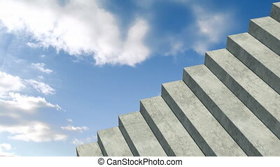 Animation of clouds moving on blue sky with stone staircase in foreground. abstract movement concept digitally generated image.
