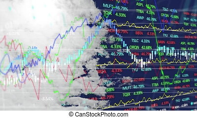 Animation of clouds moving over stock market display with ...