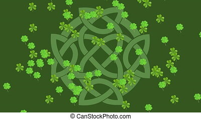 Animation of clovers falling for with celtic knot infinity ...