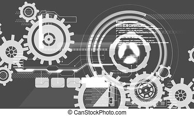 Animation of cogs spinning scope scanning and data processing on grey background
