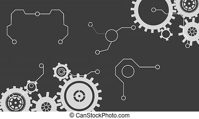 Animation of cogs spinning white lines of network ...