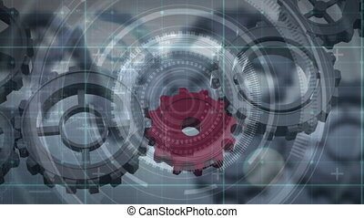 Animation of cogs working, scope recording and scanning on ...