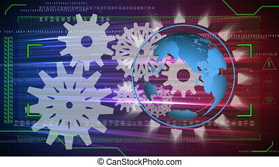 Animation of cogs working with globe spinning and scope scanning on glowing background